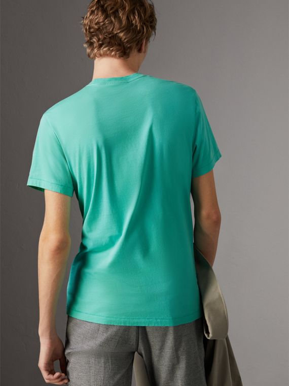 Cotton Jersey T-shirt in Turquoise - Men | Burberry United Kingdom - cell image 2