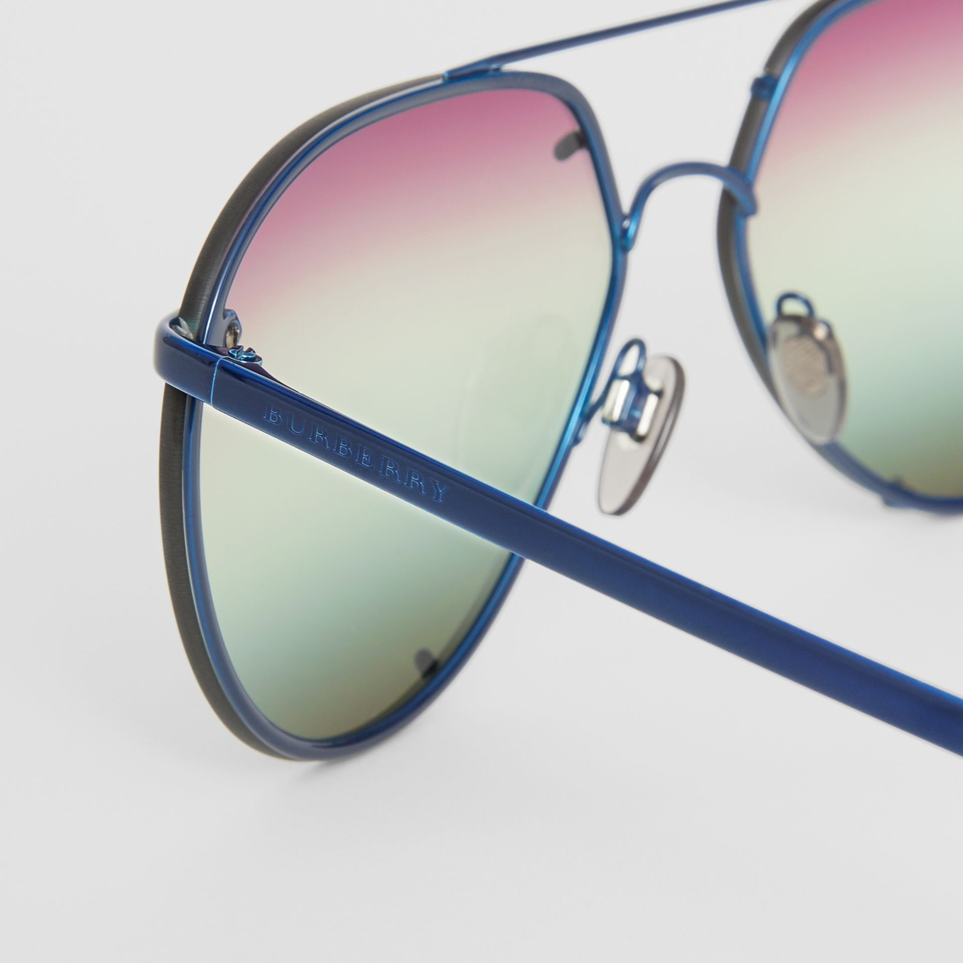 Check Detail Pilot Sunglasses in Blue - Women | Burberry Singapore - gallery image 1