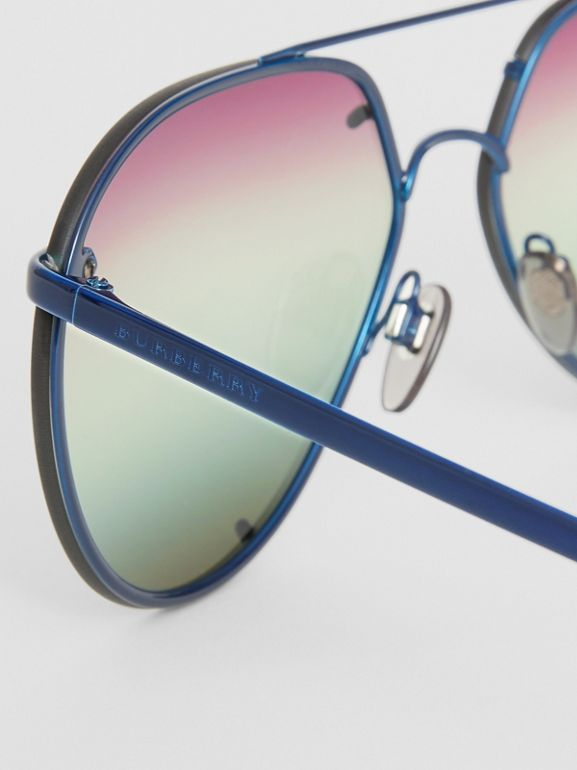 Check Detail Pilot Sunglasses in Blue - Women | Burberry - cell image 1