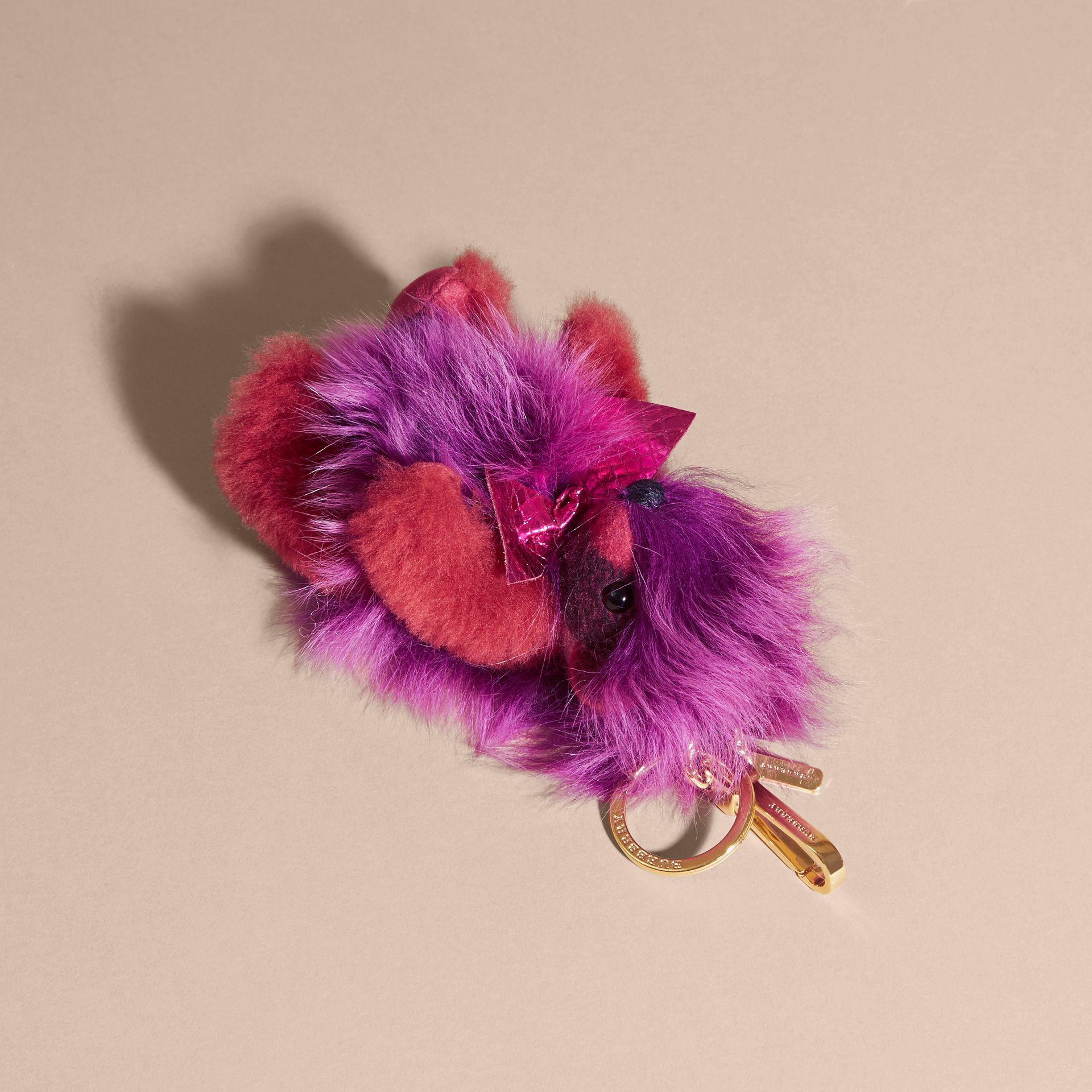 Thomas Bear Pom-Pom Charm in Check Cashmere in Fuchsia Pink - gallery image 4