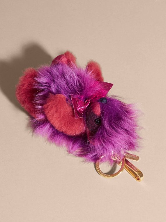 Thomas Bear Pom-Pom Charm in Check Cashmere in Fuchsia Pink - cell image 3