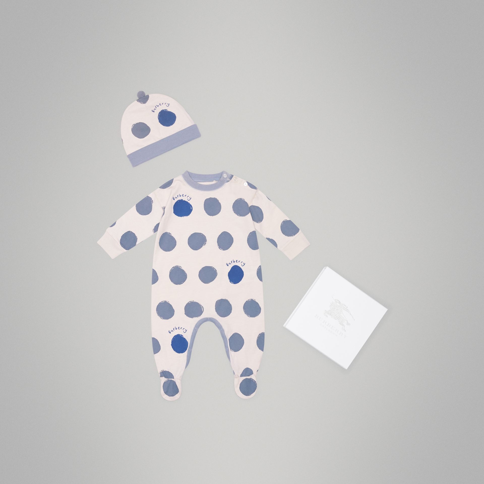 Graphic Spot Cotton Jersey Two-piece Baby Gift Set in Canvas Blue - Children | Burberry - gallery image 0