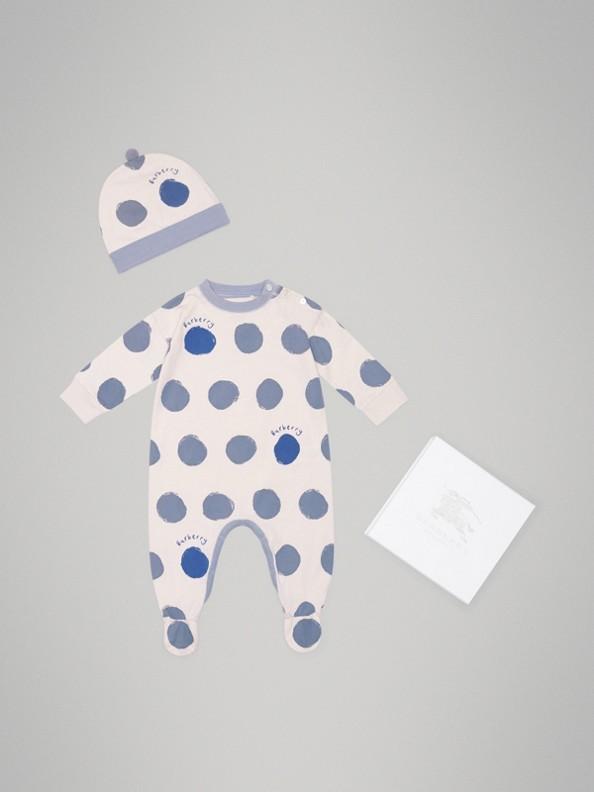 Coffret cadeau deux pièces pour bébé en jersey de coton à imprimé à pois graphique (Bleu Toile)