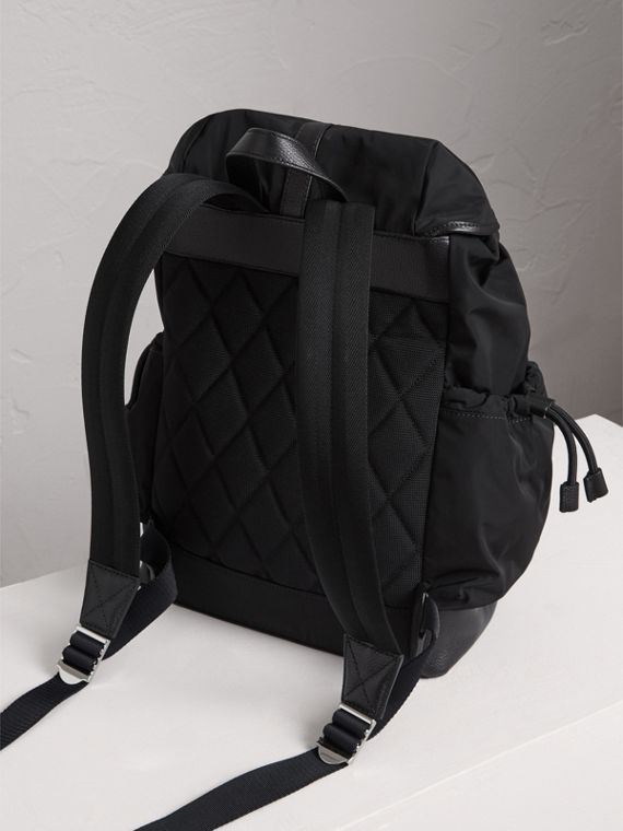 Leather Trim Baby Changing Rucksack in Black | Burberry United States - cell image 2