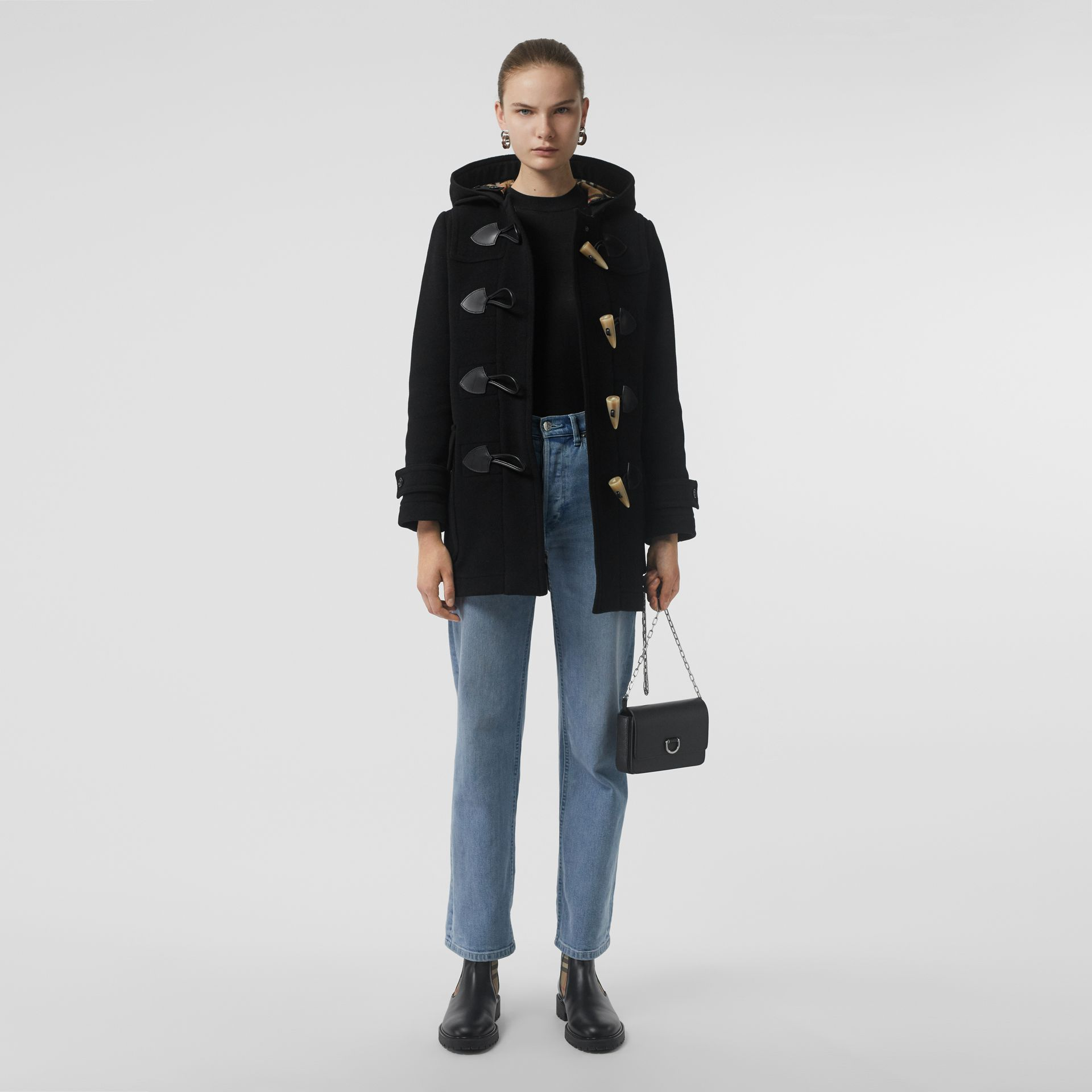 Wool Blend Duffle Coat in Black - Women | Burberry - gallery image 0