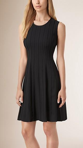 Lambskin Trim Fit and Flare Silk Dress
