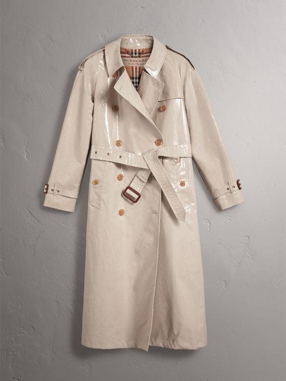 Raglan-sleeve Laminated Gabardine Trench Coat in Stone - Women | Burberry - cell image 3