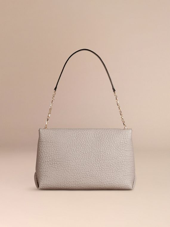 Pale grey Large Signature Grain Leather Shoulder Bag Pale Grey - cell image 3