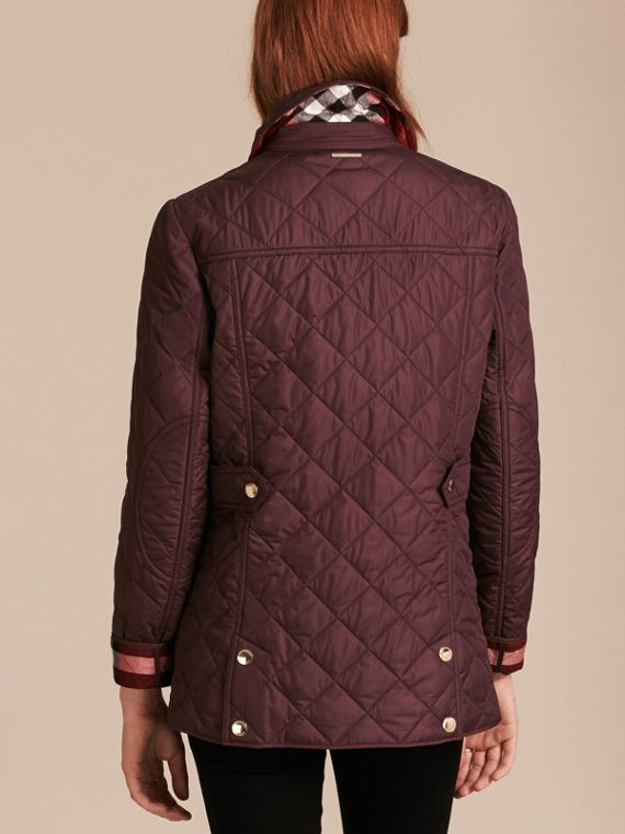 Check Detail Diamond Quilted Jacket Burgundy - cell image 2