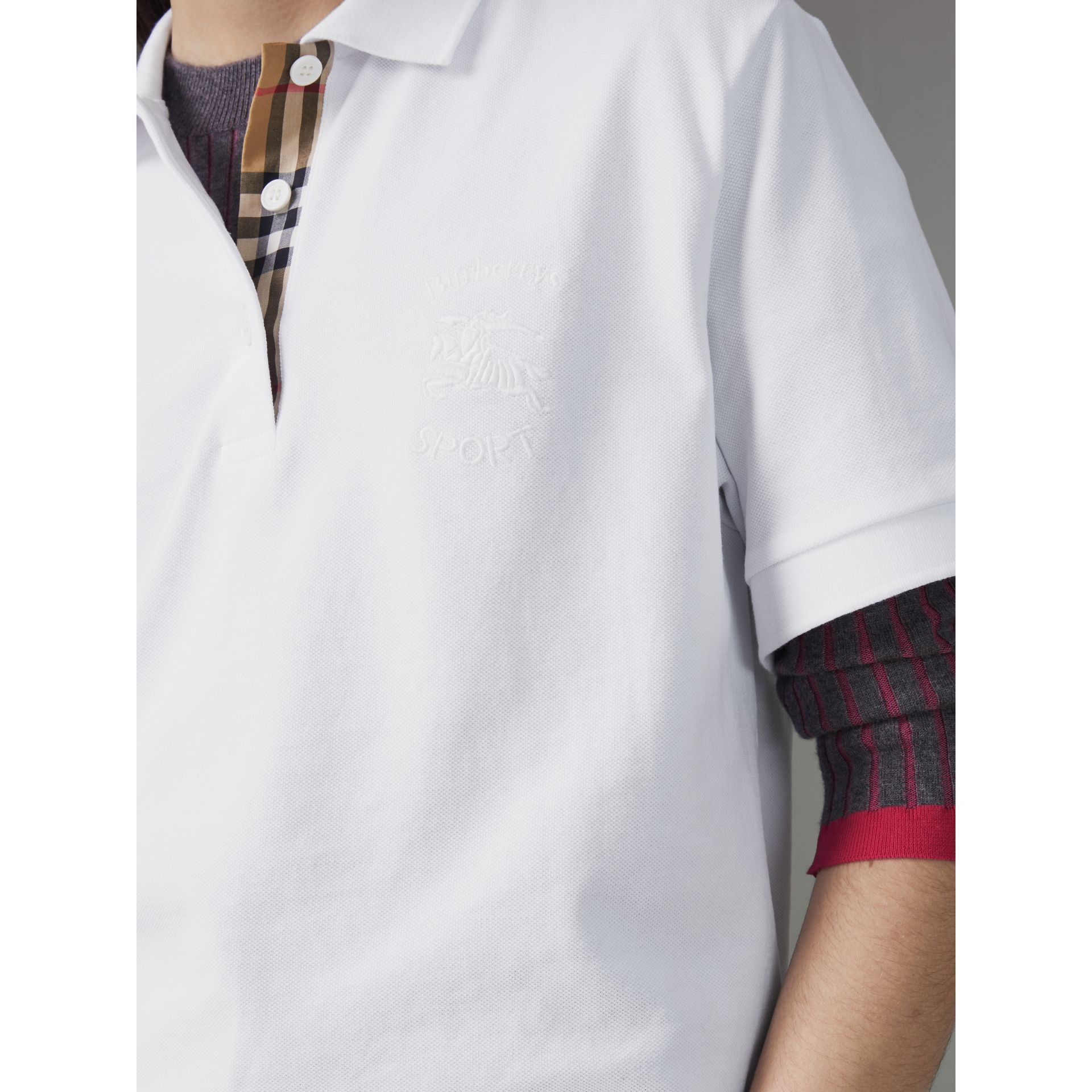 Check Placket Cotton Piqué Polo Shirt in White - Women | Burberry - gallery image 1