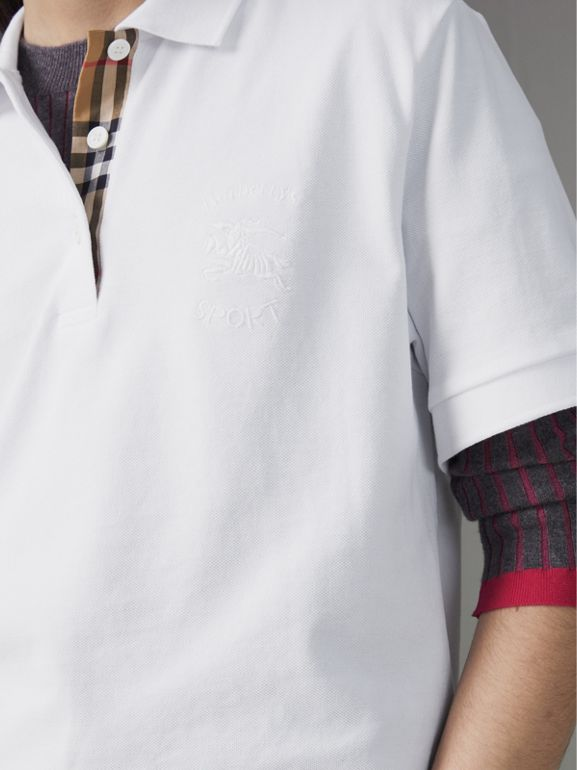 Check Placket Cotton Piqué Polo Shirt in White - Women | Burberry - cell image 1