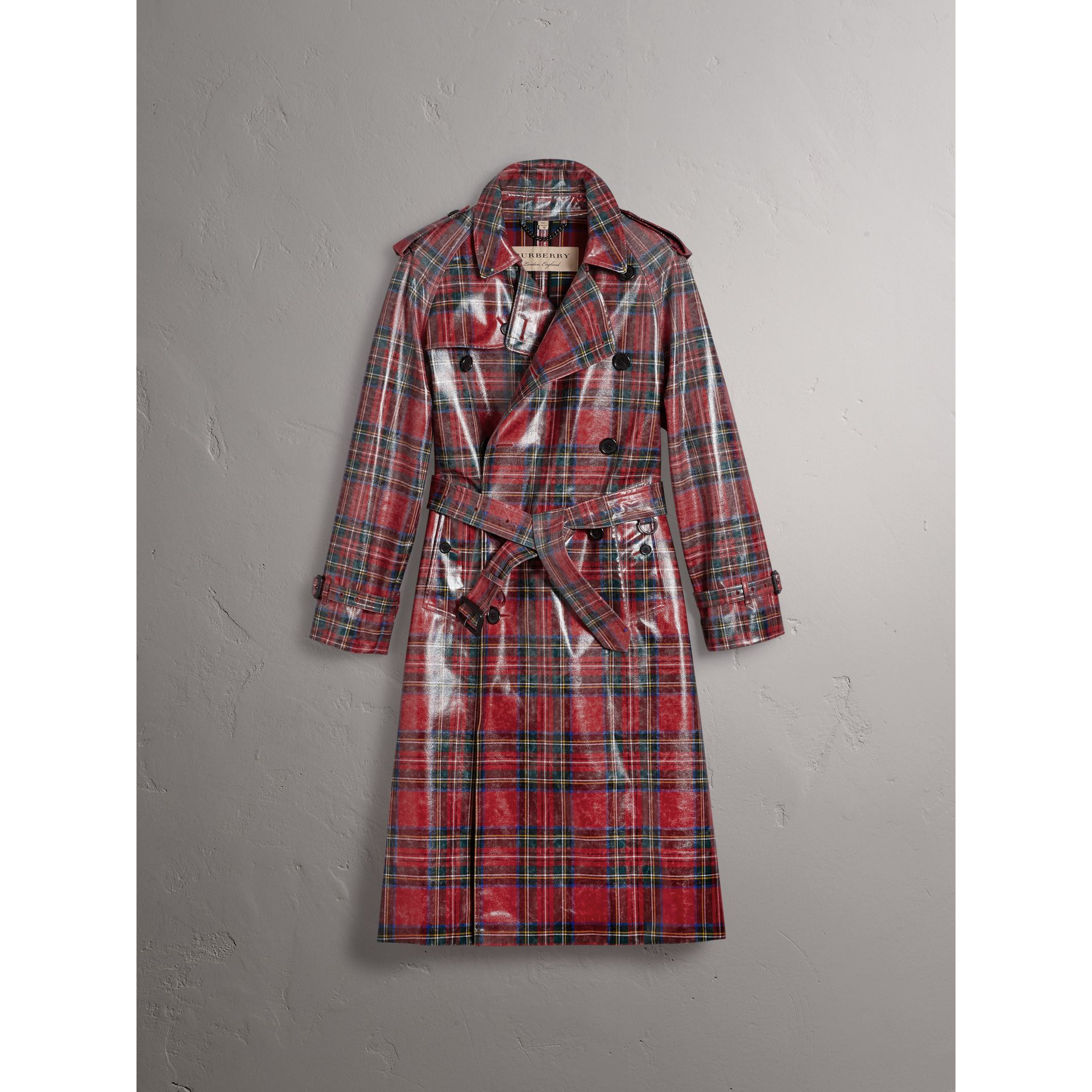 Laminated Tartan Wool Trench Coat in Bright Red - Men | Burberry - gallery image 4