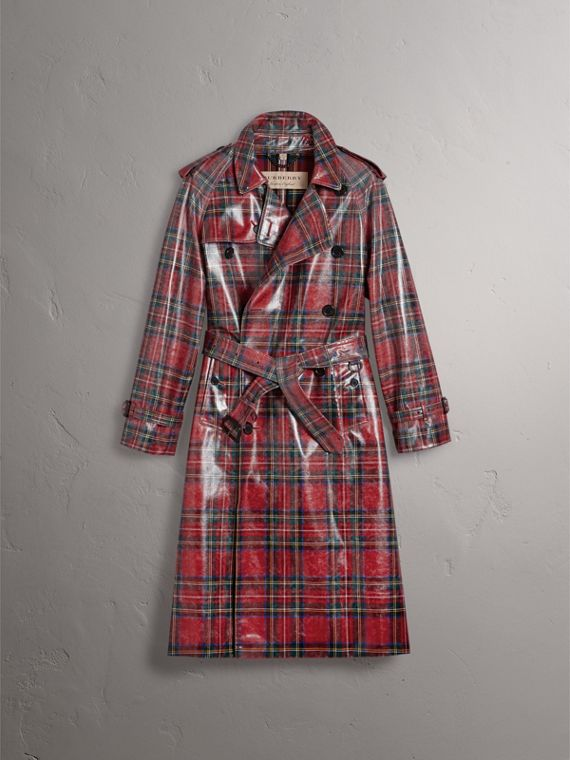 Laminated Tartan Wool Trench Coat in Bright Red - Men | Burberry - cell image 3