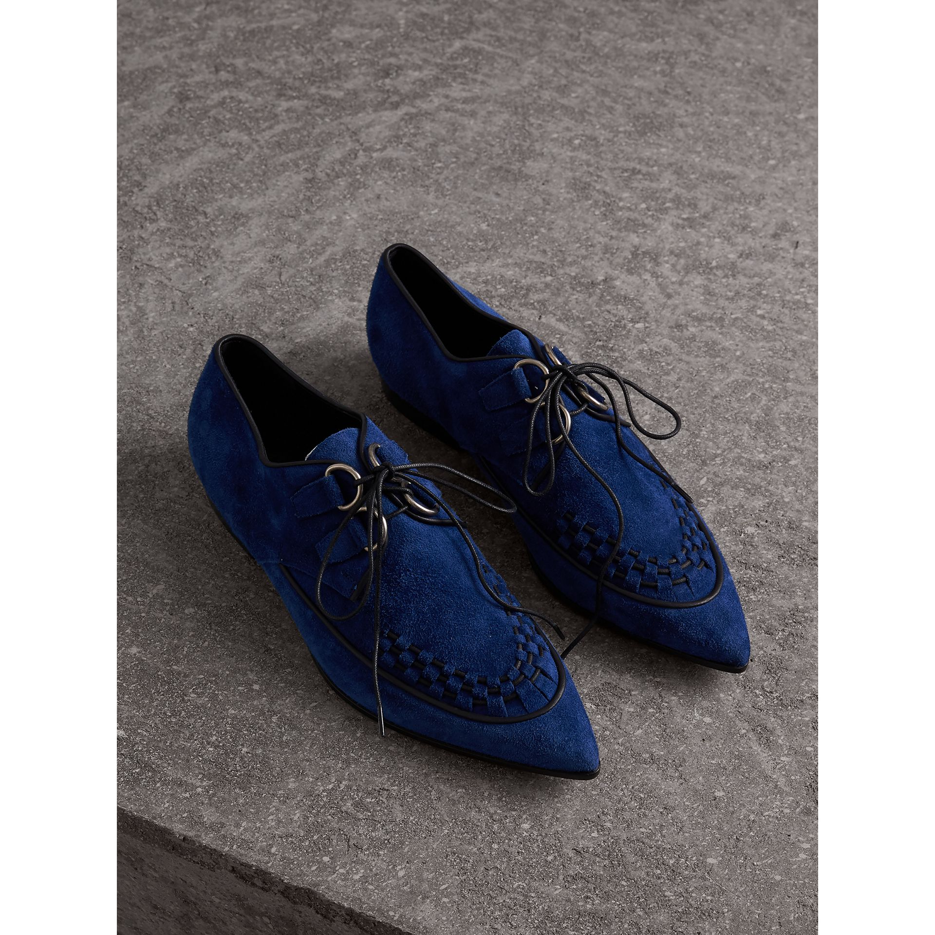 Leather Cord Detail Suede Lace-up Shoes in Brilliant Blue - Women | Burberry Singapore - gallery image 1