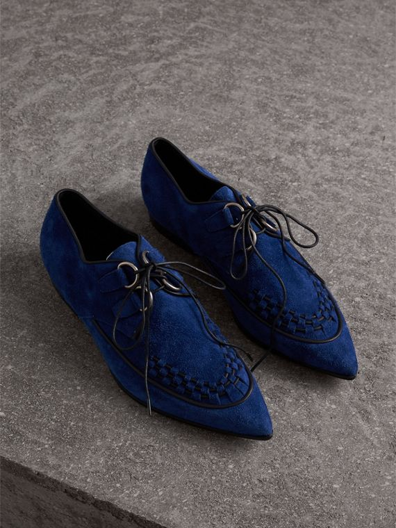 Leather Cord Detail Suede Lace-up Shoes in Brilliant Blue