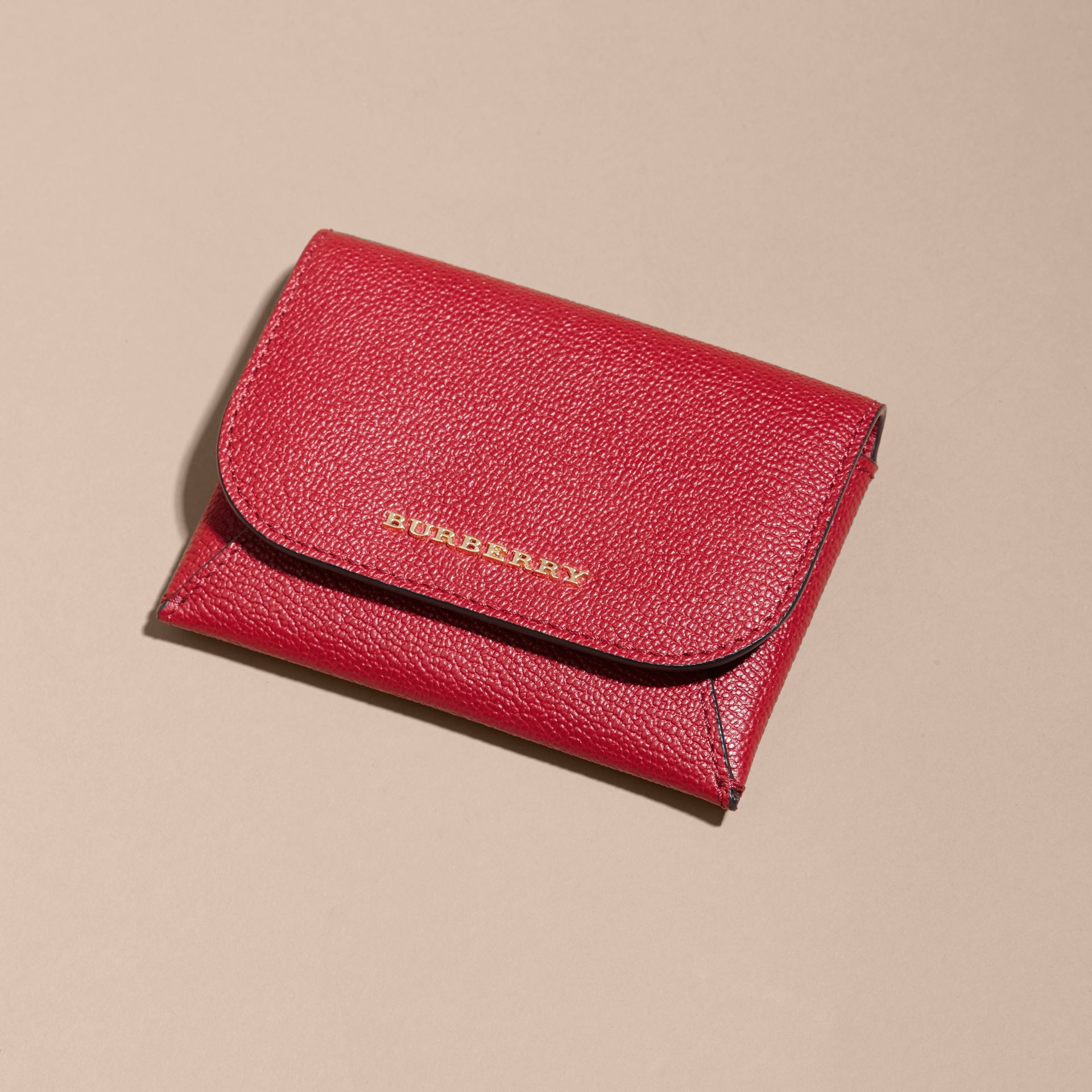 Leather Coin Case with Removable Card Compartment in Parade Red - Women | Burberry - gallery image 3