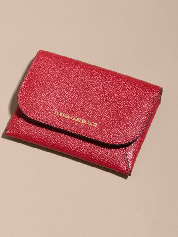 Leather Coin Case with Removable Card Compartment in Parade Red - Women | Burberry Canada - cell image 2