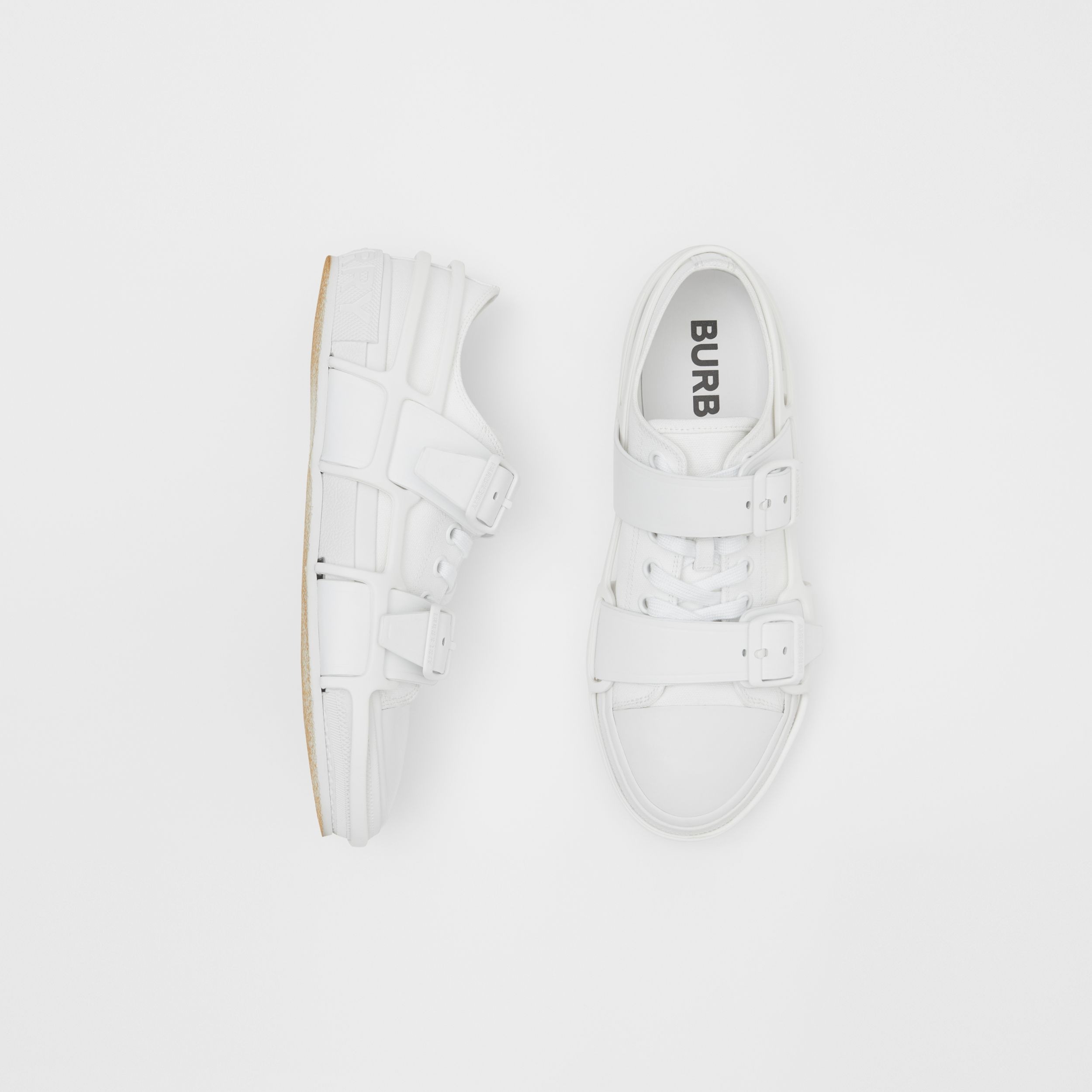 Cotton and Leather Webb Sneakers in White | Burberry - 1