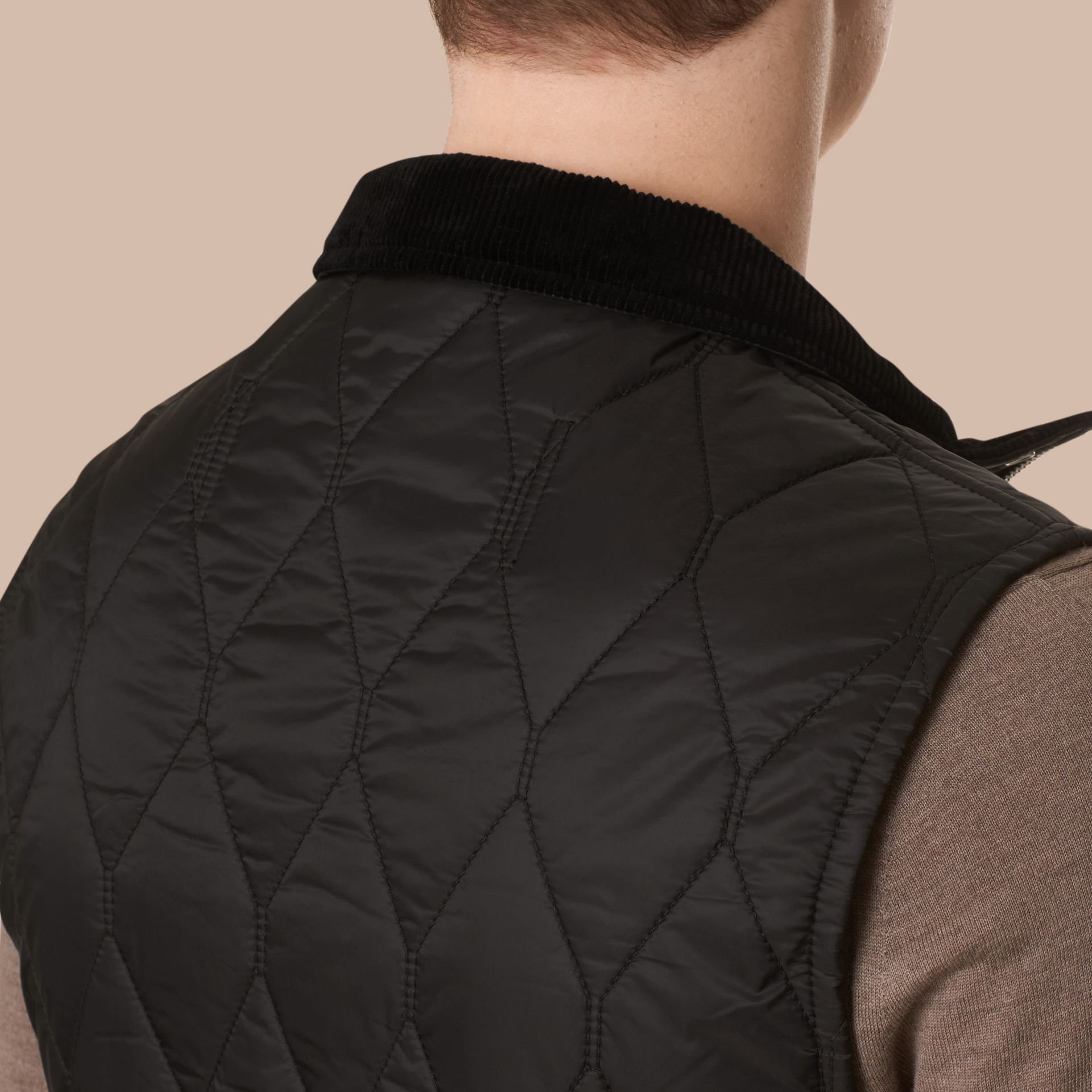 Black Multi-Pocket Diamond Quilted Gilet Black - gallery image 5