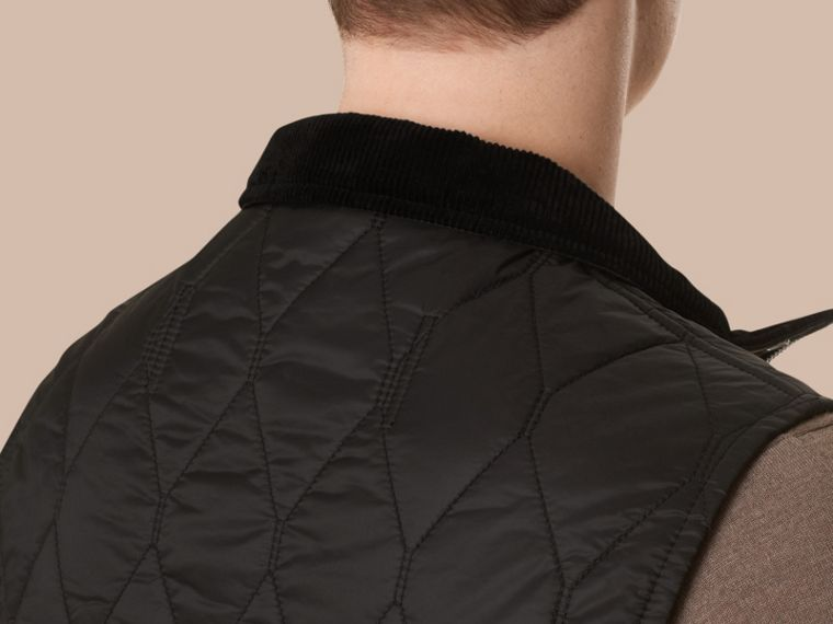 Black Multi-Pocket Diamond Quilted Gilet Black - cell image 4
