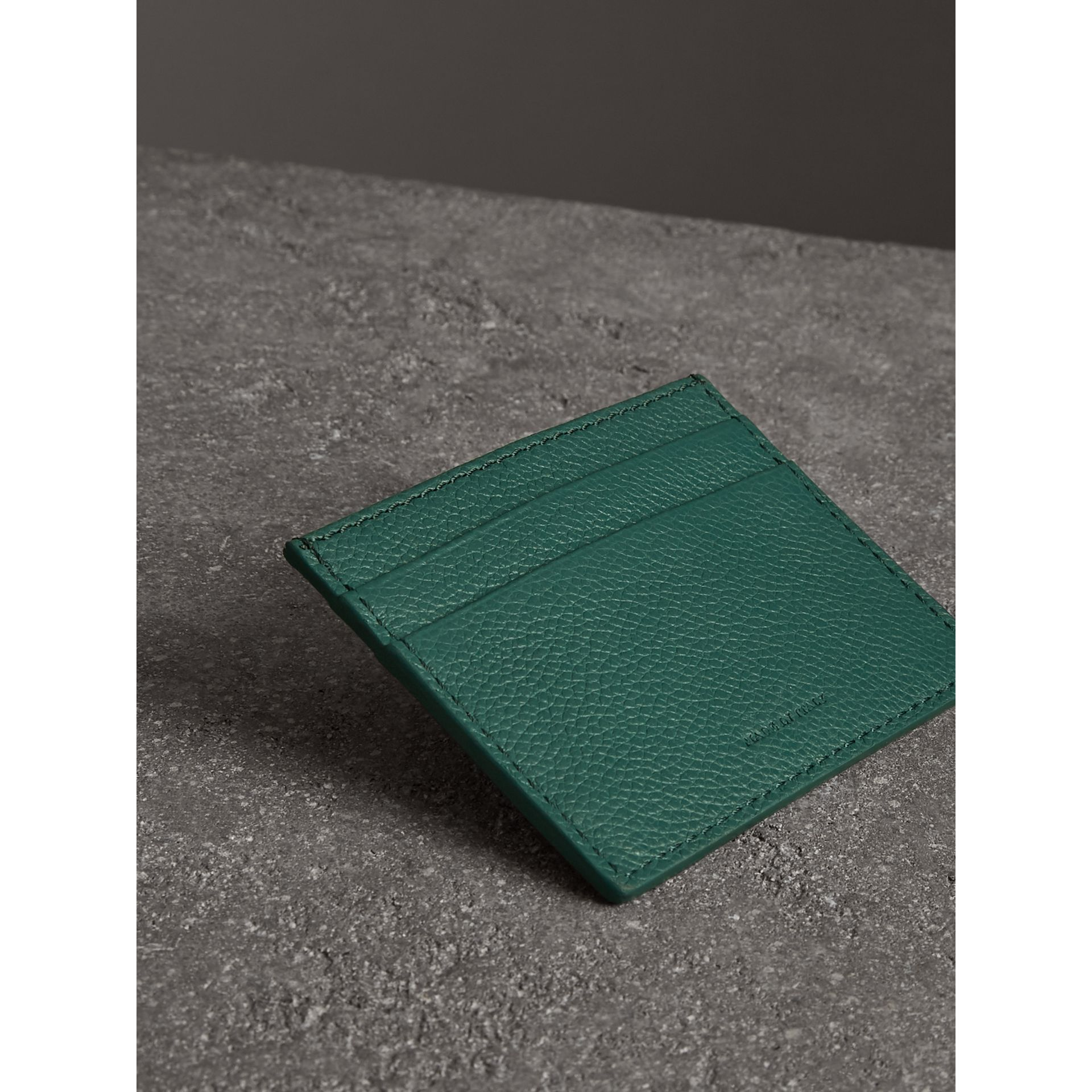 Grainy Leather Card Case in Dark Cyan | Burberry - gallery image 2