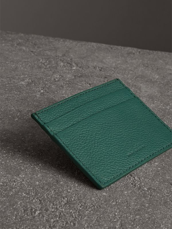 Grainy Leather Card Case in Dark Cyan | Burberry Australia - cell image 2