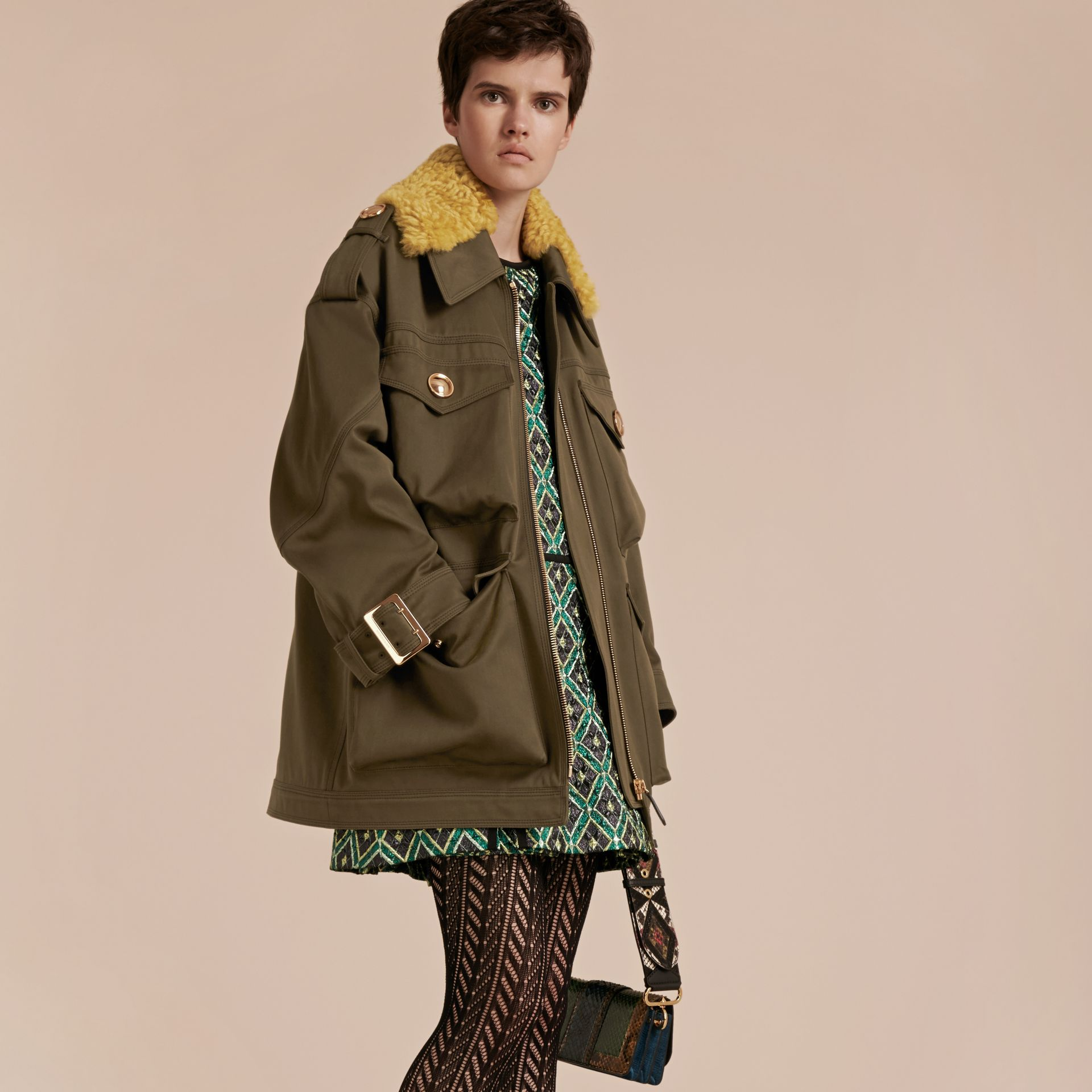 Military green Cotton Field Jacket With Shearling Collar - gallery image 8
