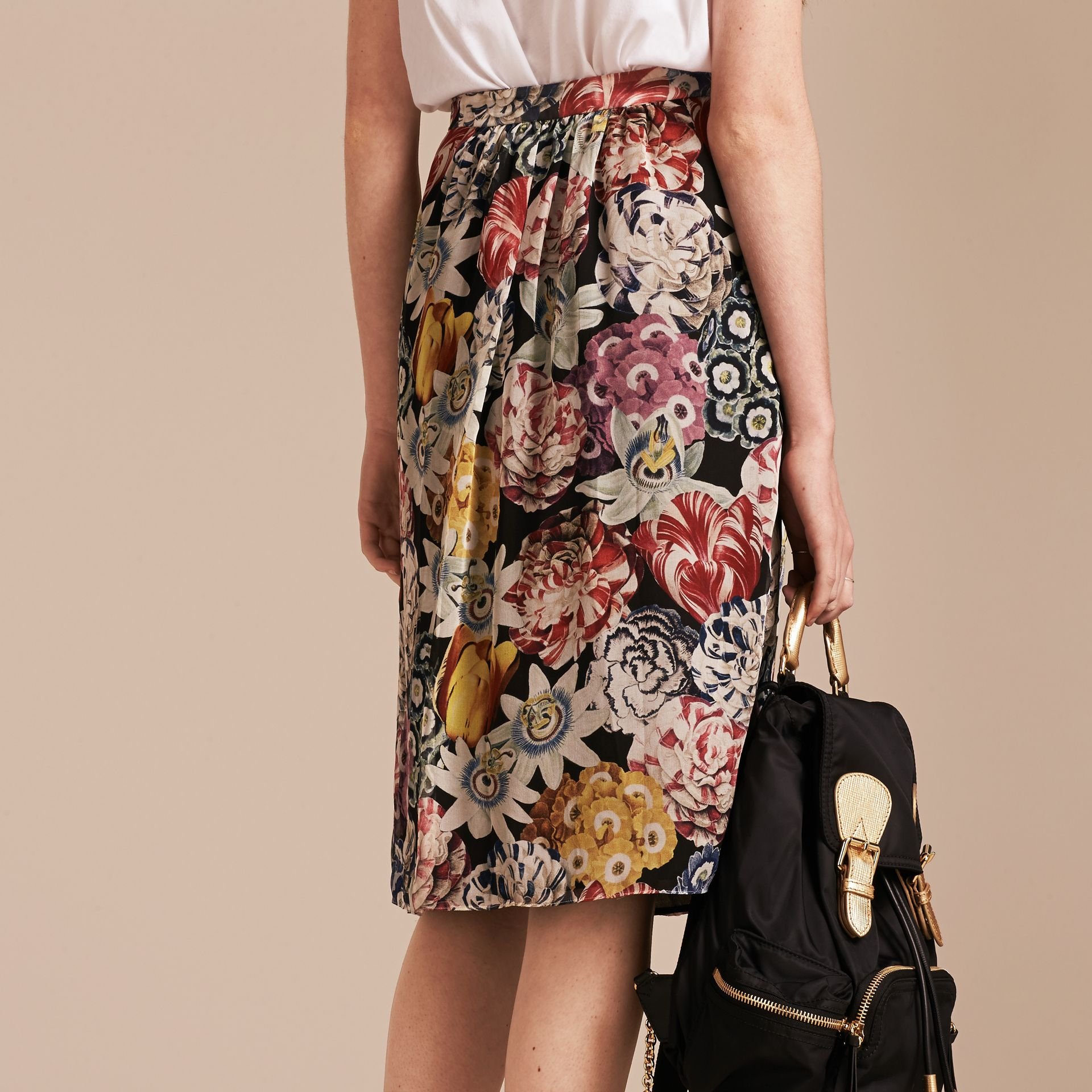 Black Gathered Floral Print Silk Skirt - gallery image 3