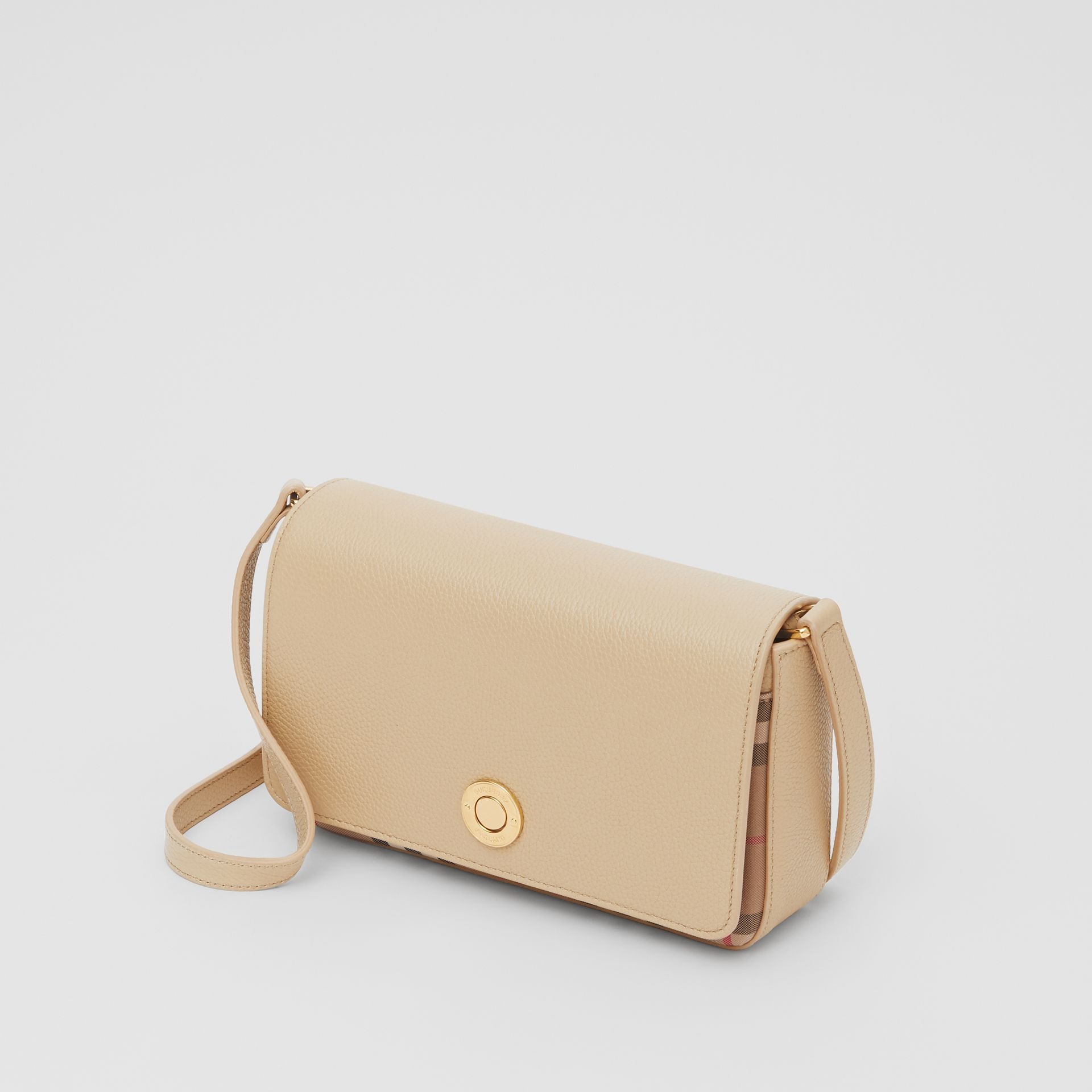 Small Leather and Vintage Check Crossbody Bag in Light Beige - Women | Burberry United Kingdom - gallery image 2