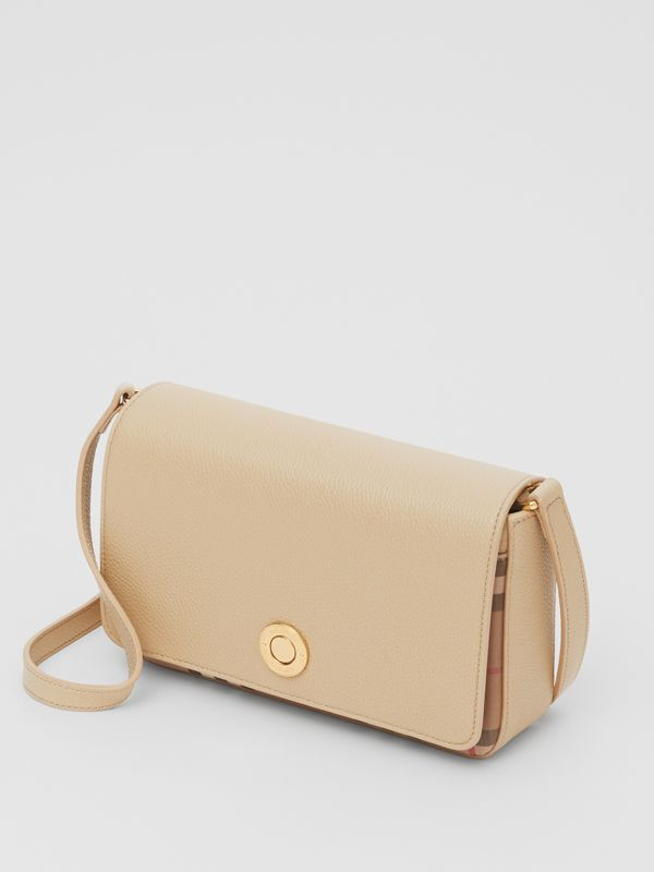 Small Leather and Vintage Check Crossbody Bag in Light Beige - Women | Burberry United Kingdom - cell image 2