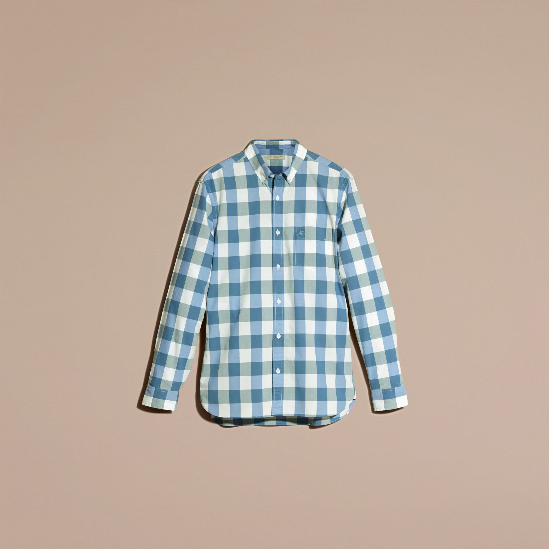 Bright hydrangea blue Button-down Collar Gingham Cotton Shirt Bright Hydrangea Blue - gallery image 4
