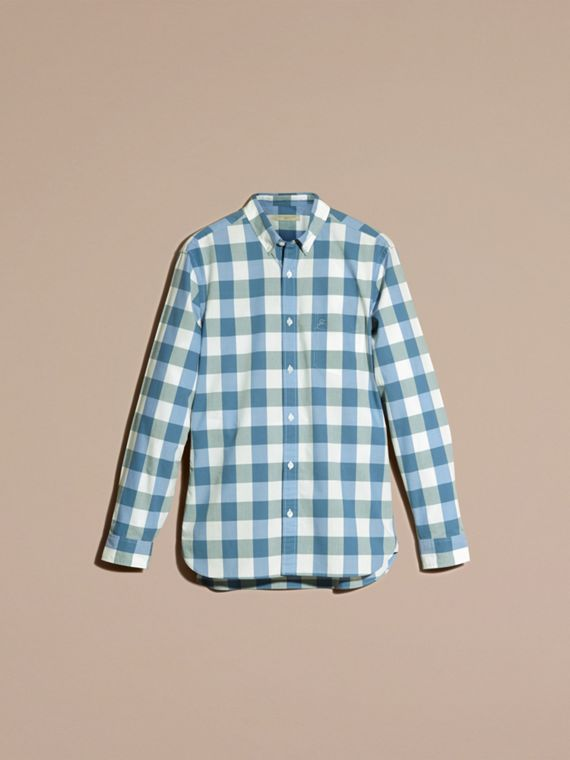 Bright hydrangea blue Button-down Collar Gingham Cotton Shirt Bright Hydrangea Blue - cell image 3