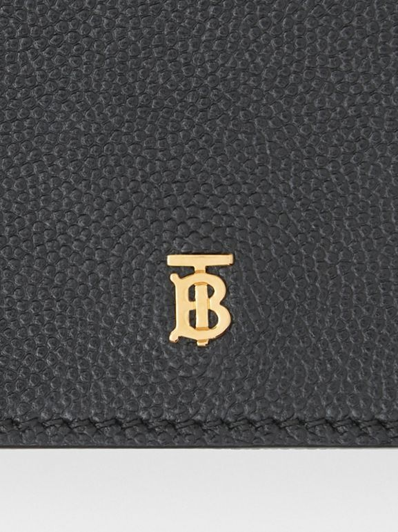 Small Grainy Leather Folding Wallet in Black - Women | Burberry - cell image 1