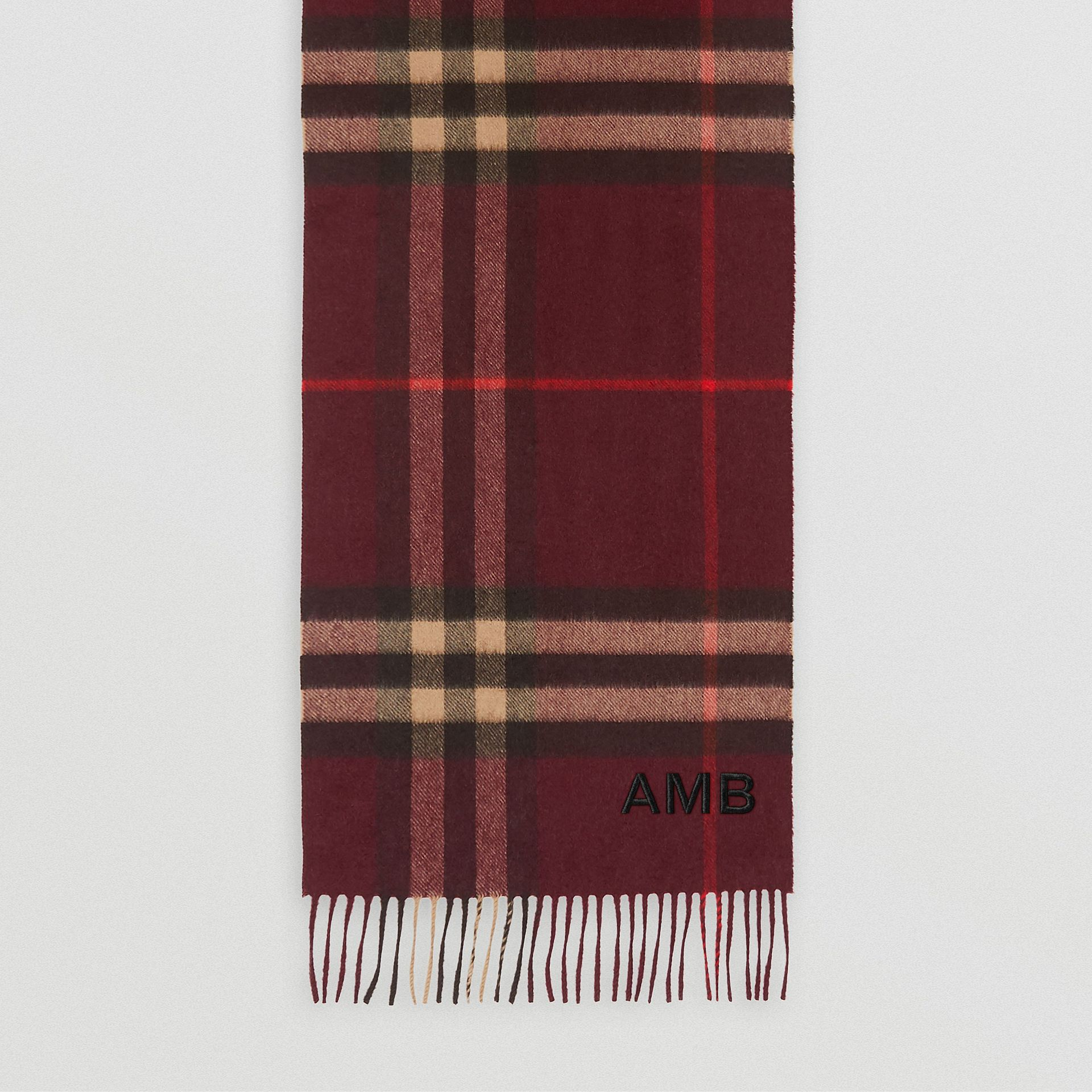 The Classic Check Cashmere Scarf in Burgundy | Burberry - gallery image 8