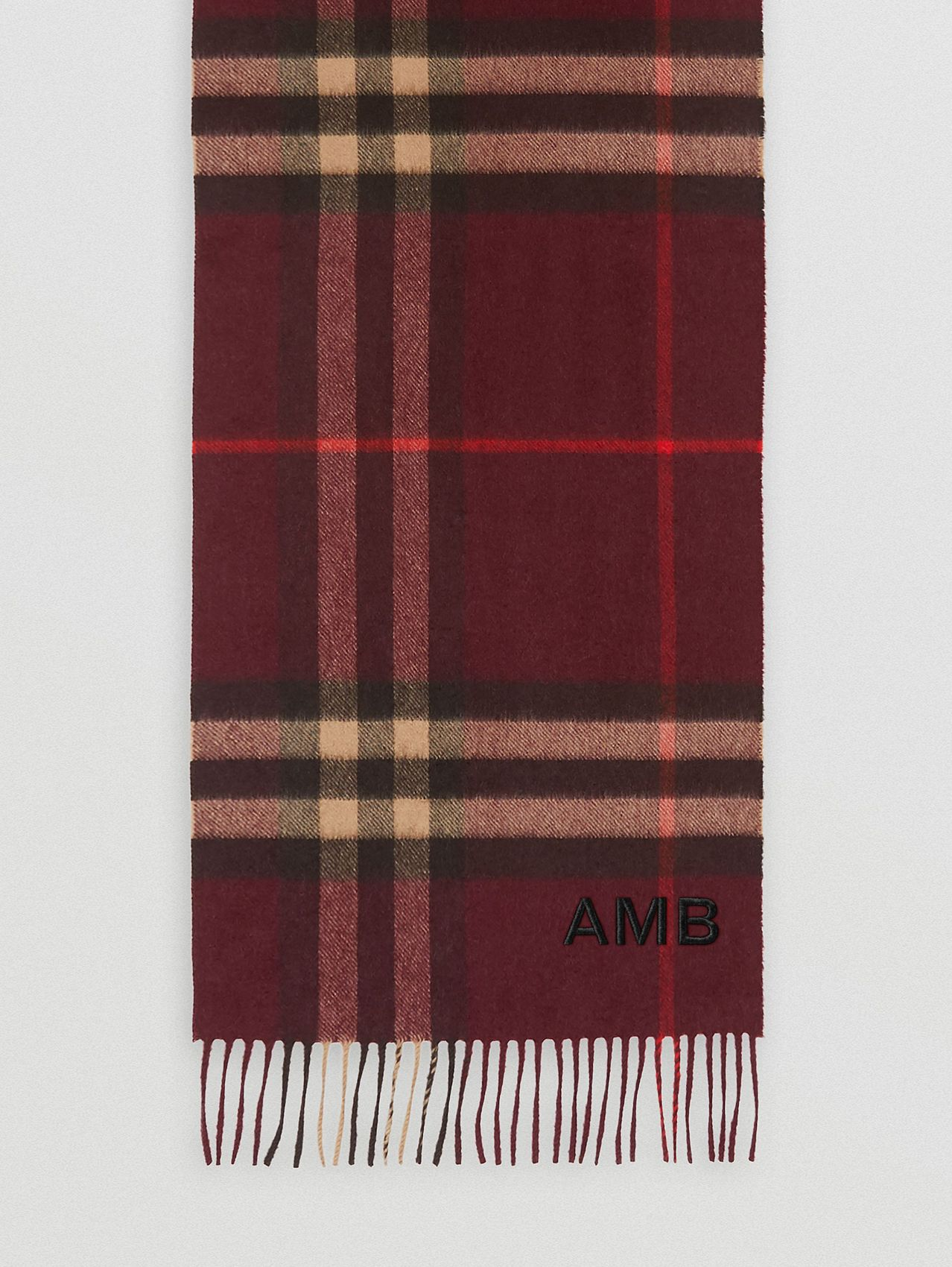 The Classic Check Cashmere Scarf in Burgundy