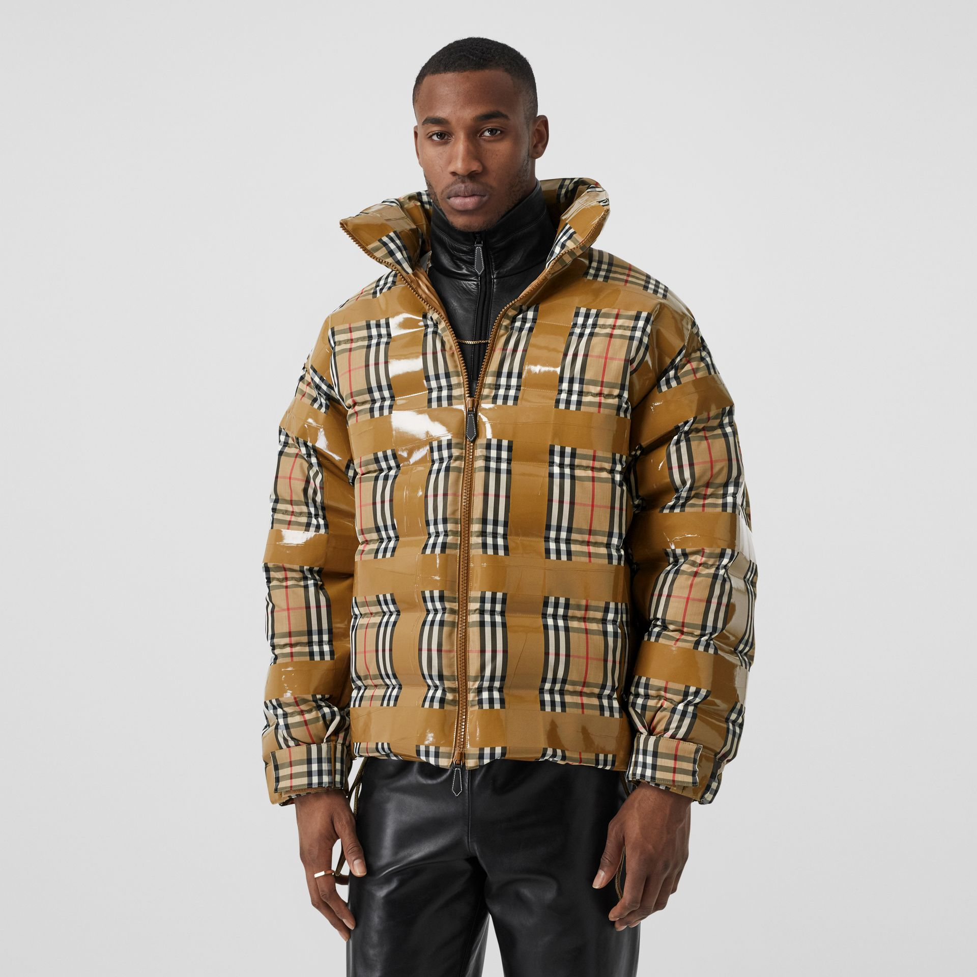 Tape Detail Vintage Check Puffer Jacket in Archive Beige - Men | Burberry - gallery image 5