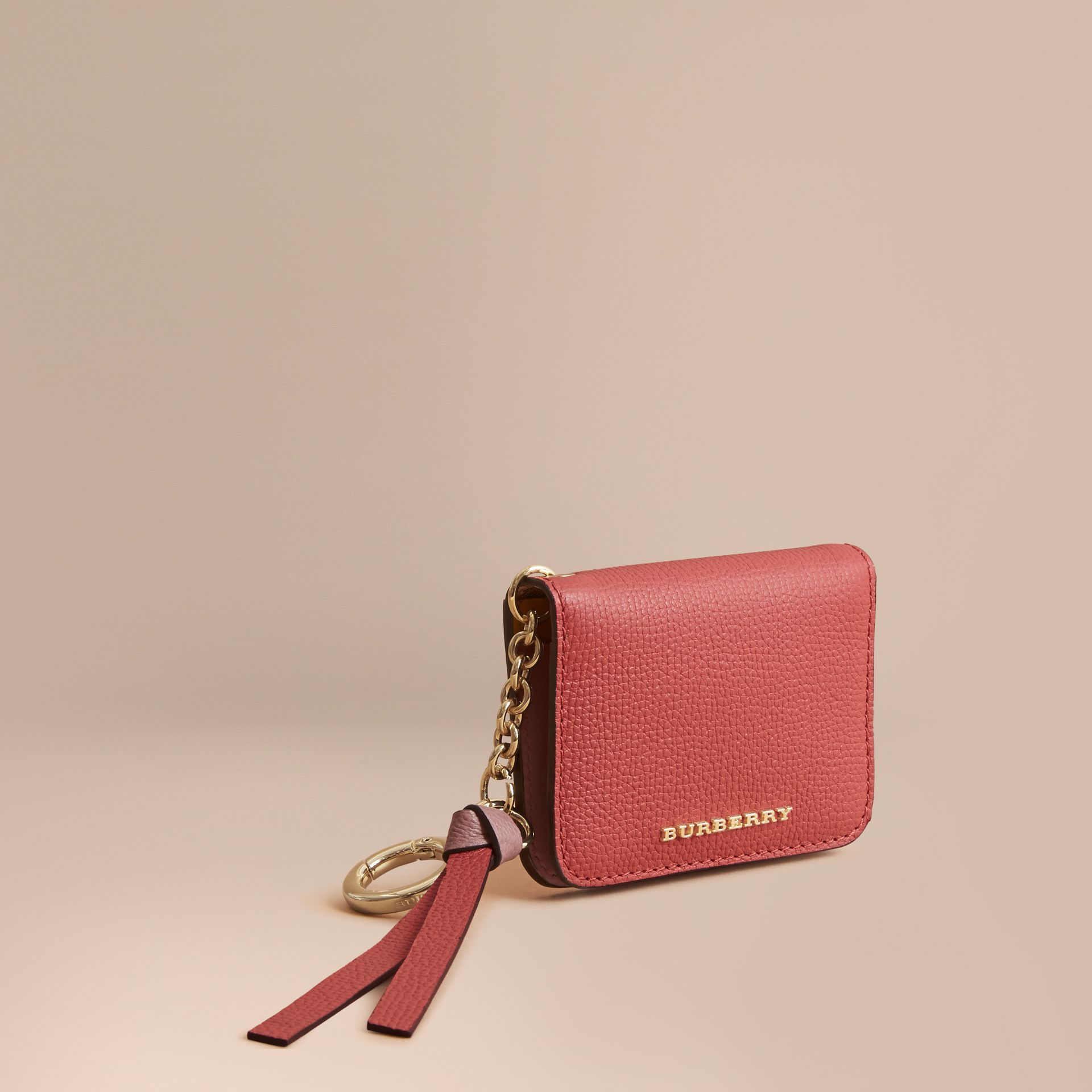 Leather and Haymarket Check ID Card Case Charm in Cinnamon Red/multi - Women | Burberry Australia - gallery image 1