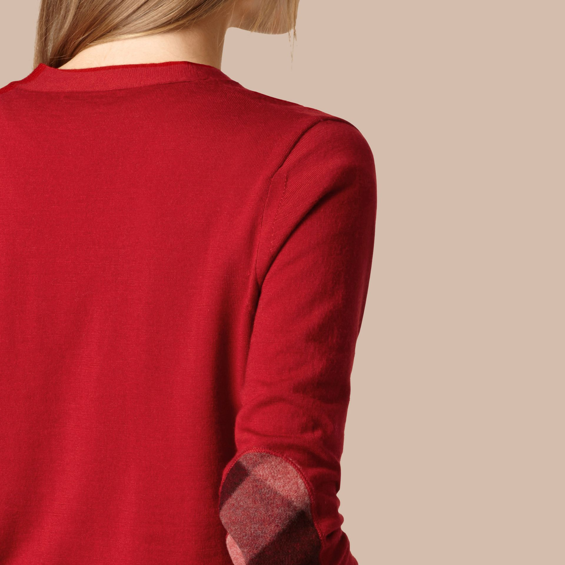Check Detail Merino Wool Cardigan in Parade Red - gallery image 2