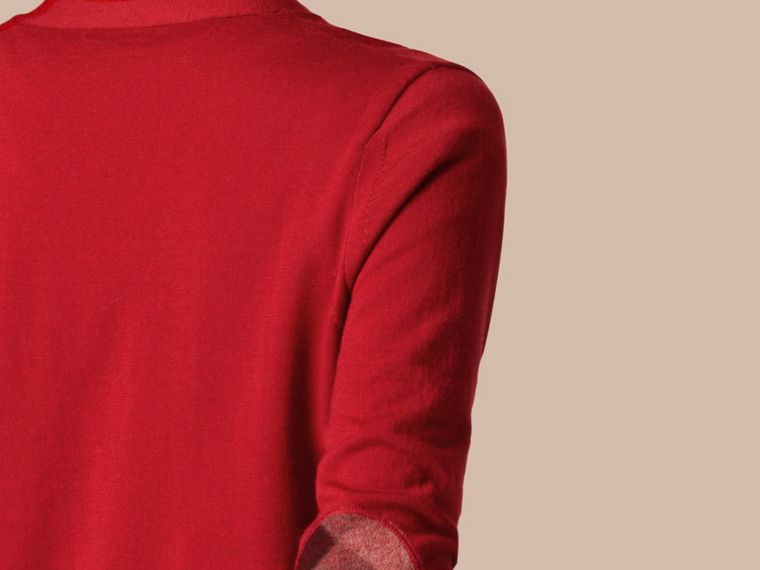 Check Detail Merino Wool Cardigan in Parade Red - cell image 1