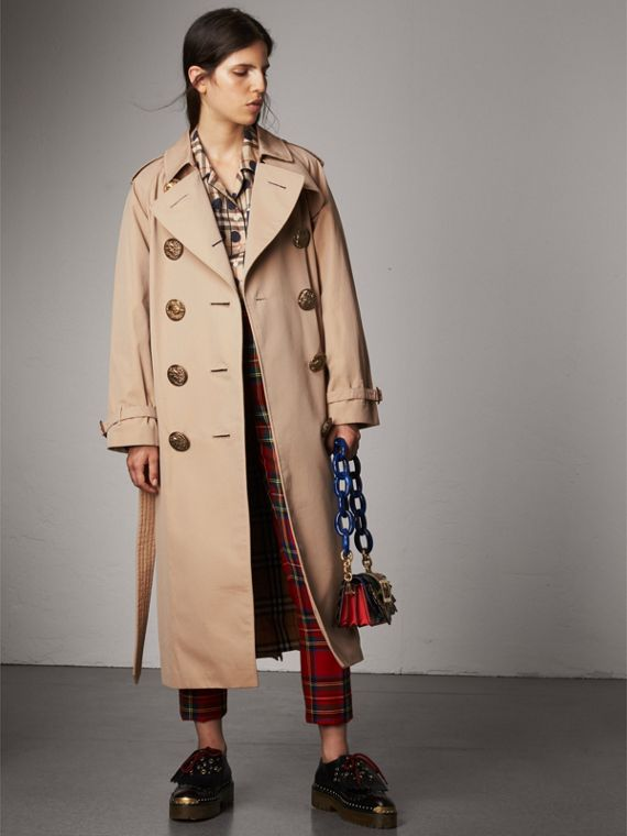 Bird Button Cotton Gabardine Trench Coat in Honey