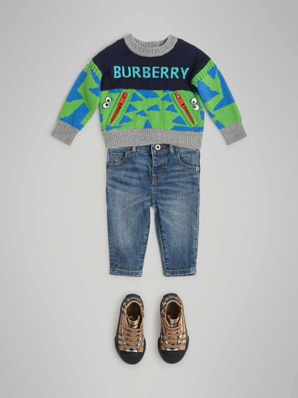 Kaschmirpullover mit Monstermotiv in Intarsienoptik (Marineblau) - Kinder | Burberry - cell image 2