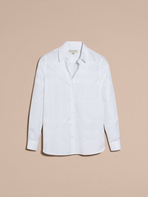 White Check Jacquard Cotton Shirt White - cell image 3