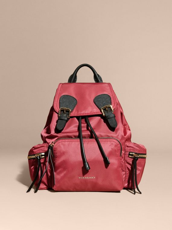 The Medium Rucksack in Technical Nylon and Leather in Plum Pink - Women | Burberry Hong Kong