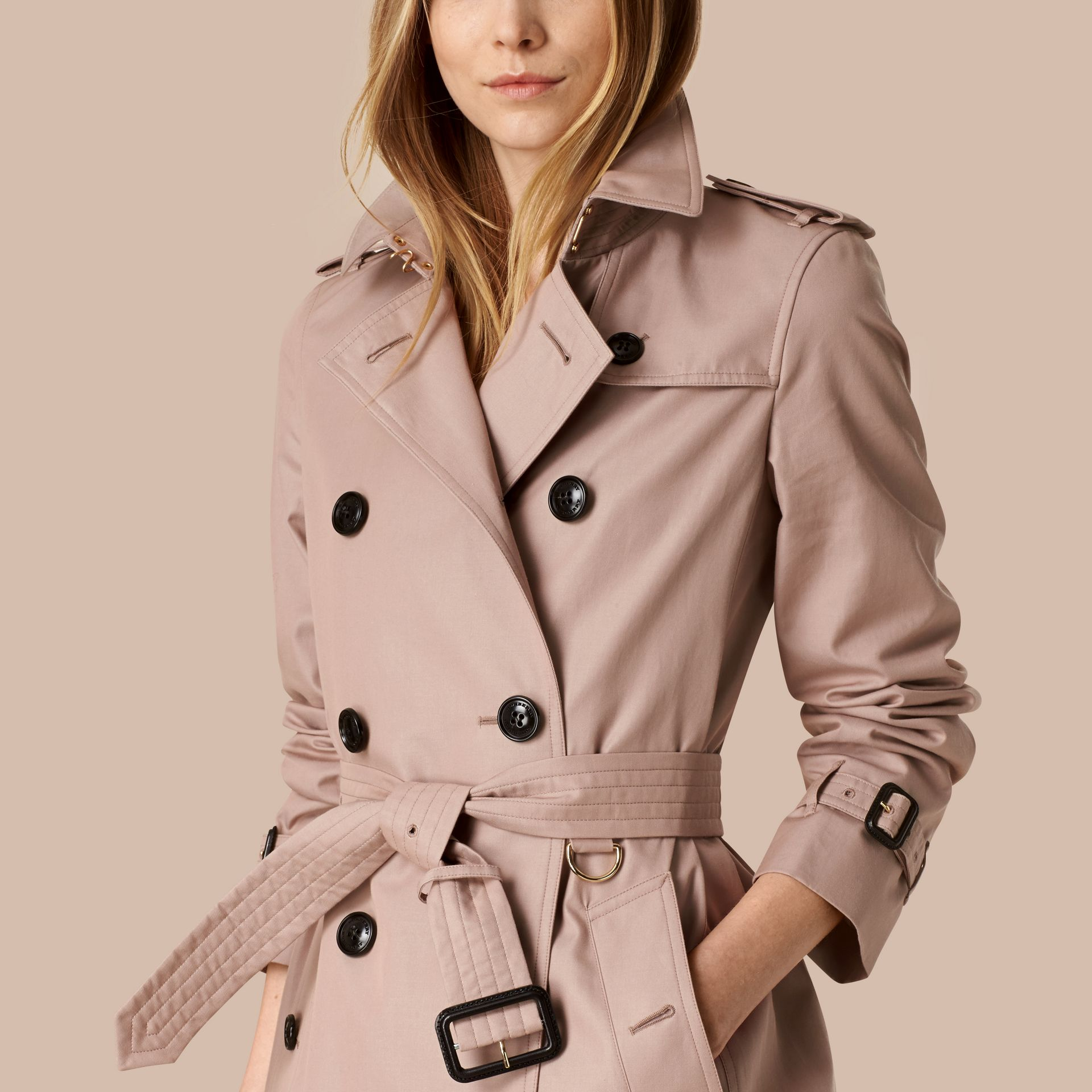 Nude Lightweight Cotton Gabardine Trench Coat Nude - gallery image 4