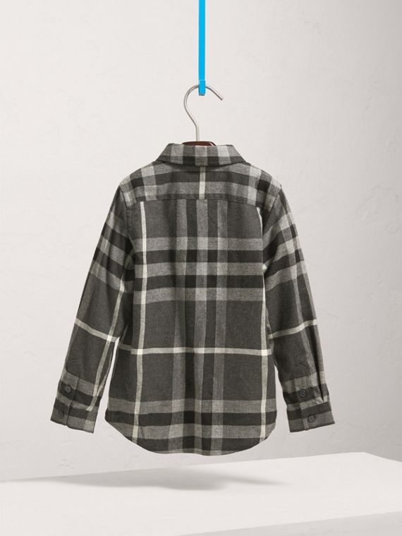 Check Cotton Flannel Button-Down Shirt in Dark Grey Melange - Boy | Burberry - cell image 3