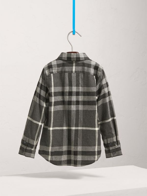 Check Cotton Flannel Button-Down Shirt in Dark Grey Melange - Boy | Burberry United States - cell image 3