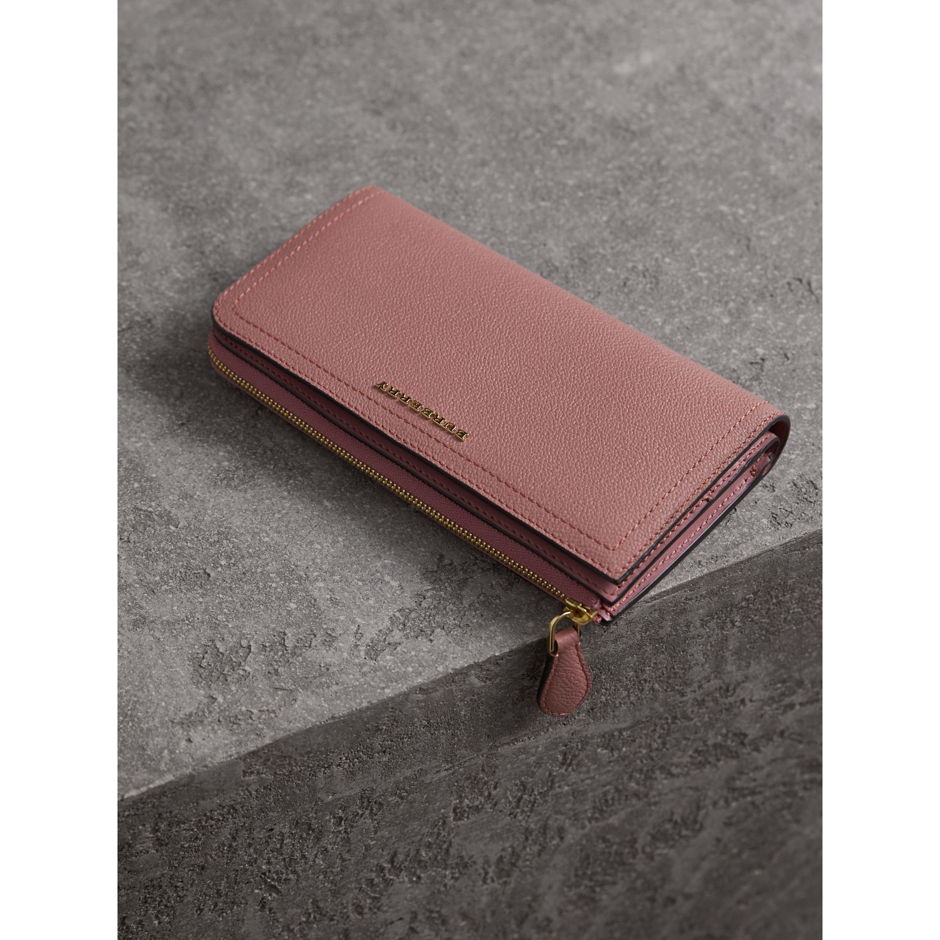 Grainy Leather Ziparound Wallet in Dusty Pink - gallery image 5