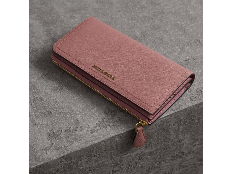 Grainy Leather Ziparound Wallet in Dusty Pink - cell image 4