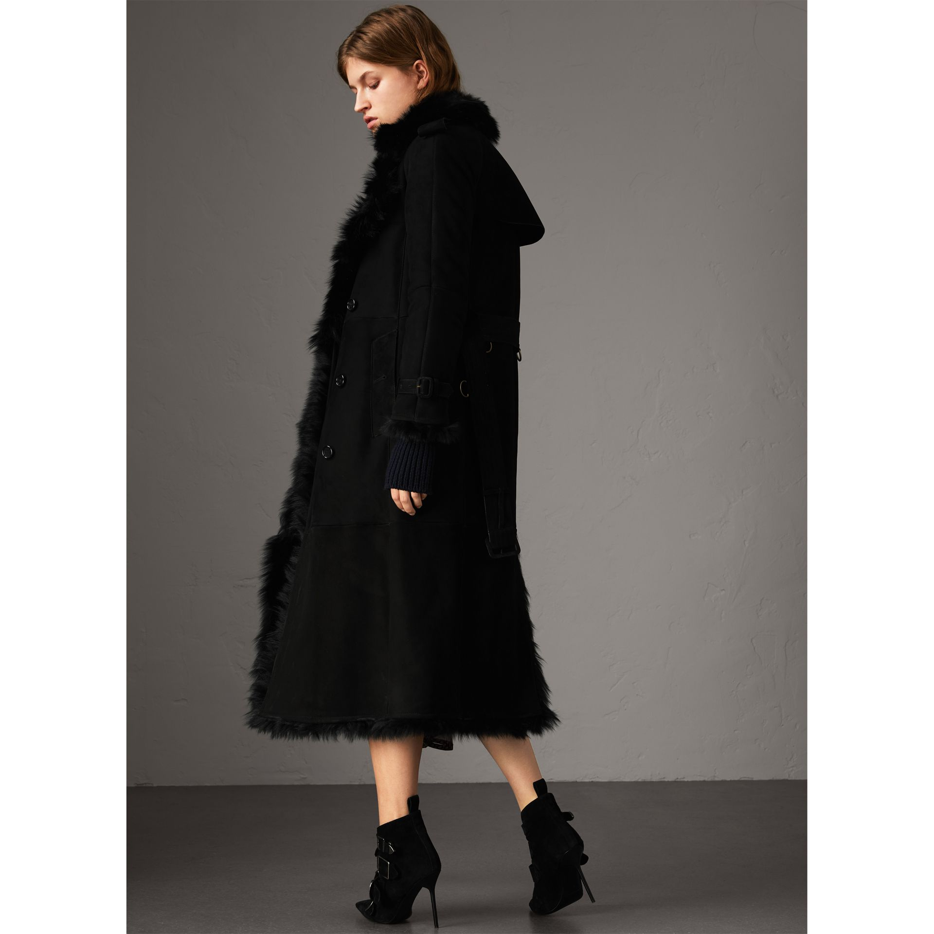 Shearling Long Trench Coat in Black - Women | Burberry - gallery image 6