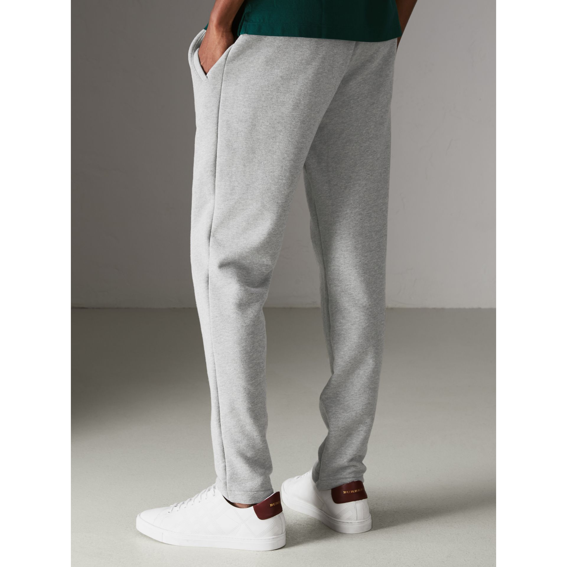 Graffitied Ticket Print Sweatpants in Pale Grey Melange - Men | Burberry United Kingdom - gallery image 2